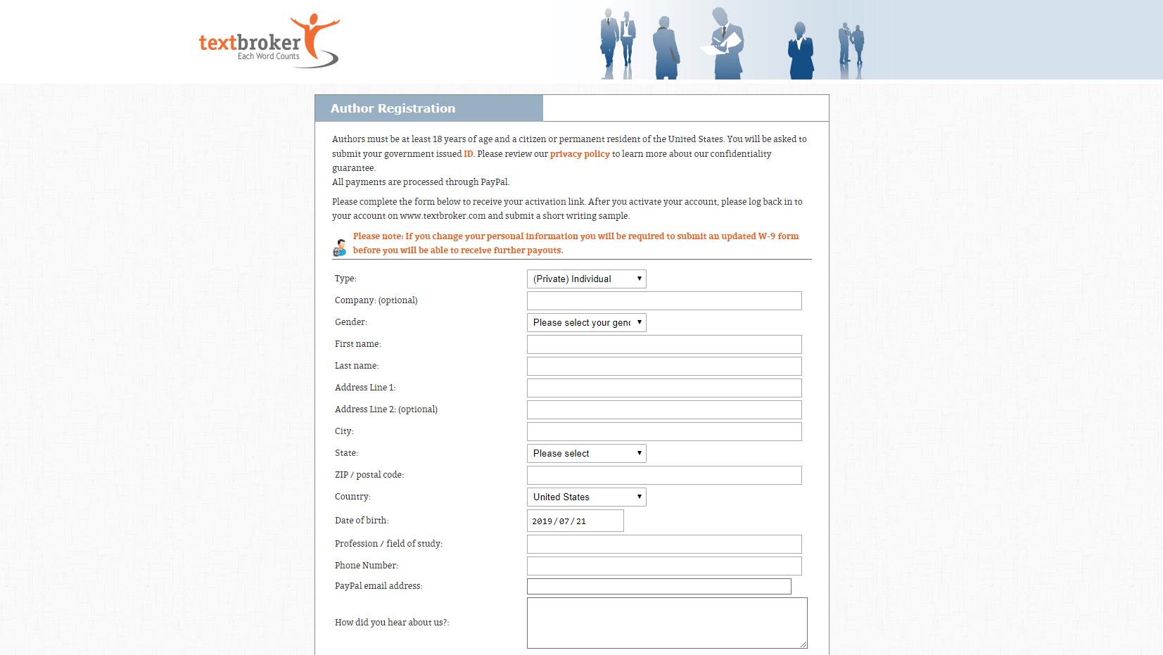 TextBroker registering as author