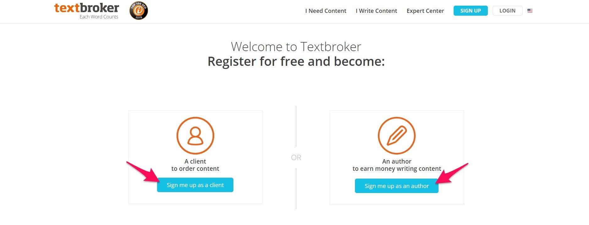 Textbroker registration