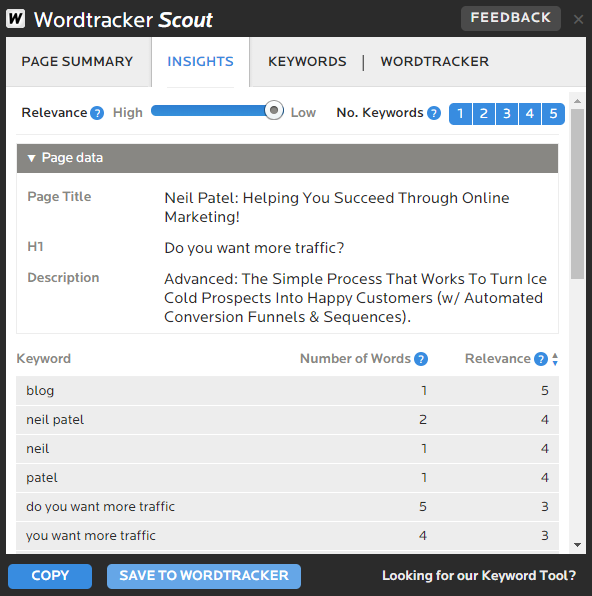 Wordtracker Scout example