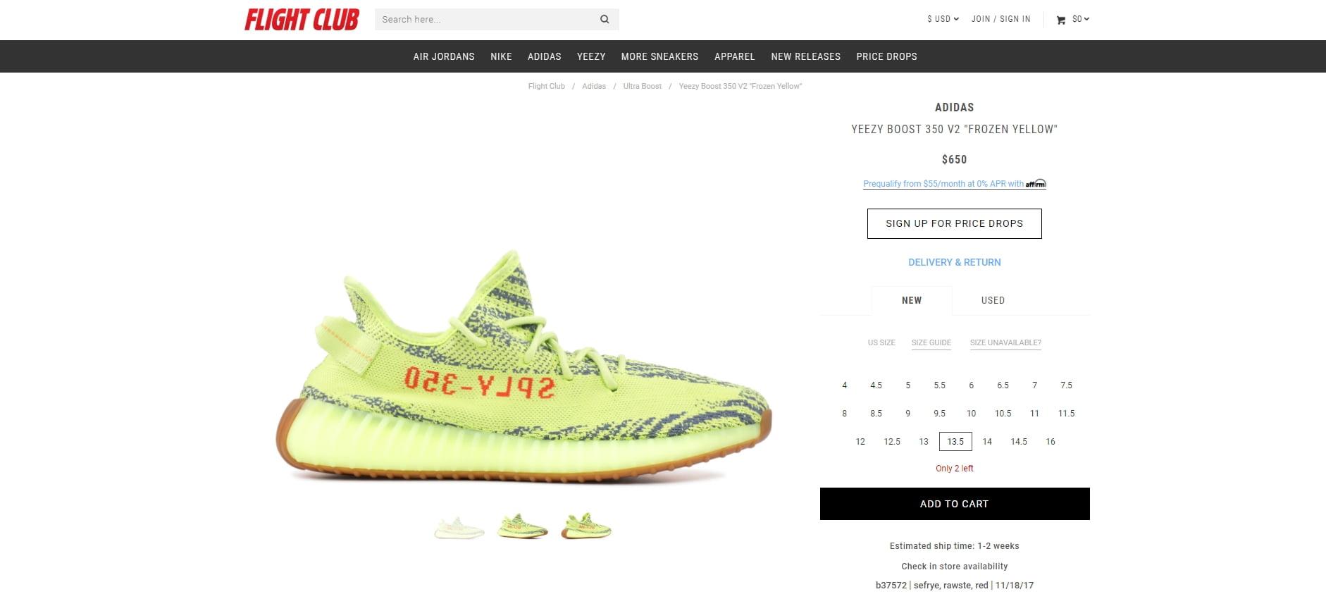 Yeezy sneaker example