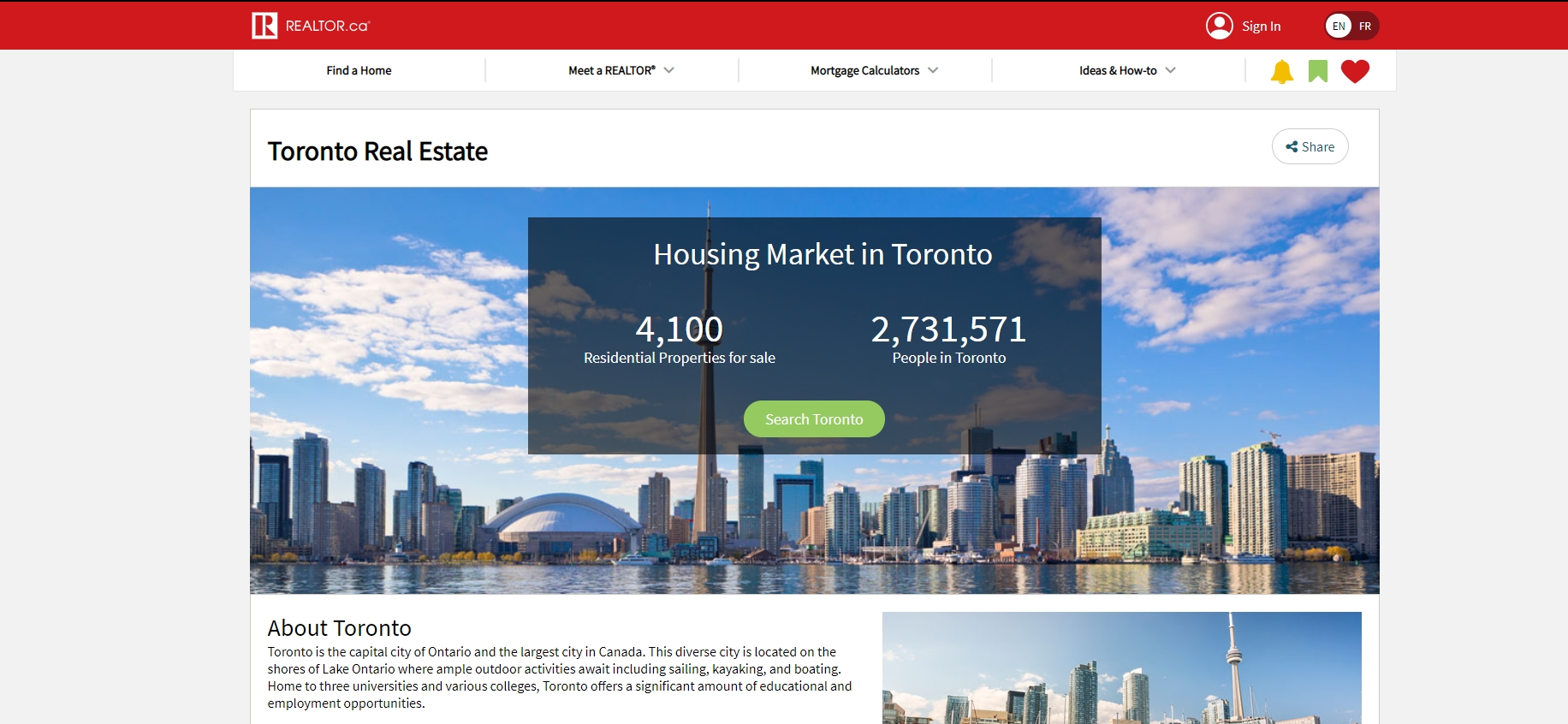 Call to action on a real estate website