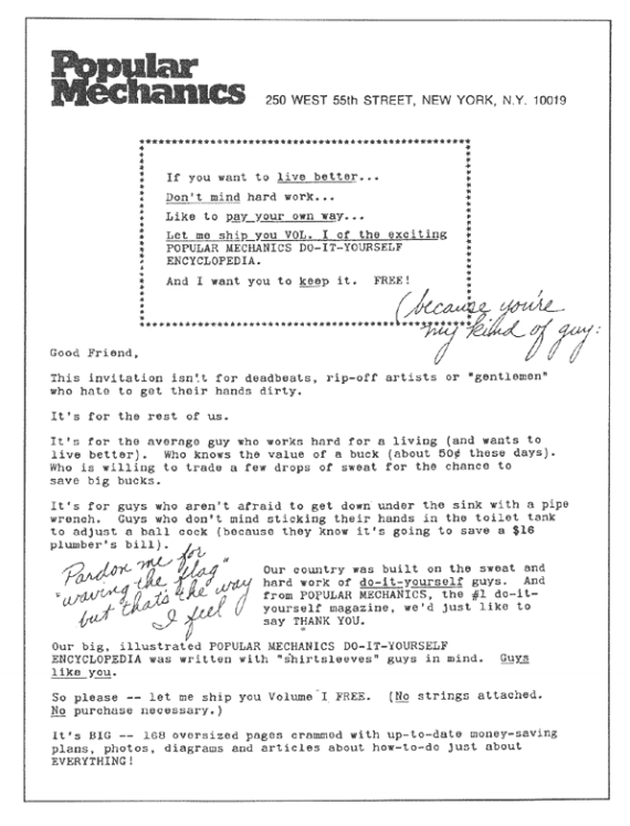 Popular mechanics sales letter