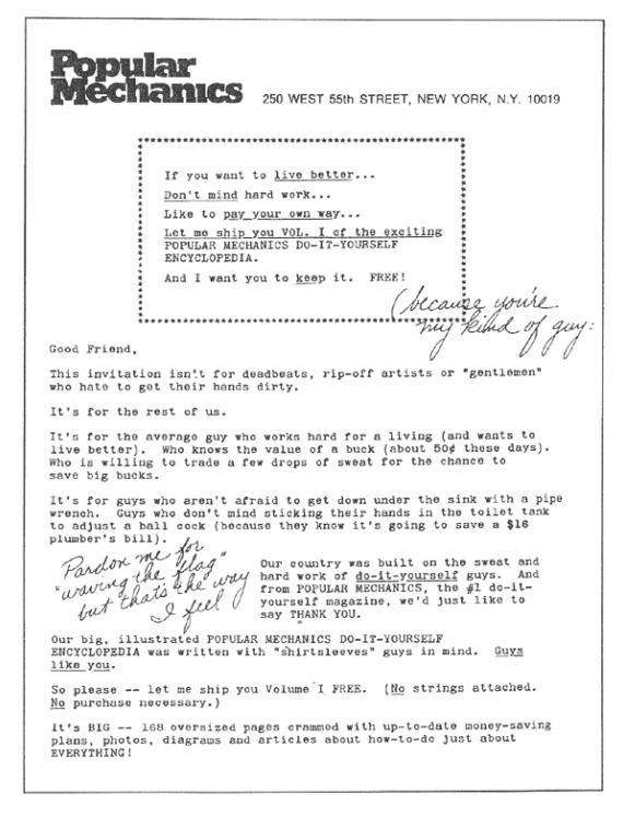 Popular mechanics sales letter