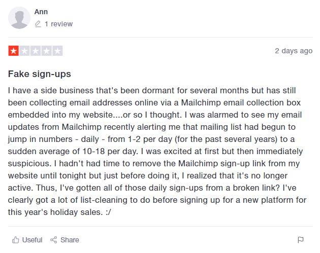 Bad Mailchimp review