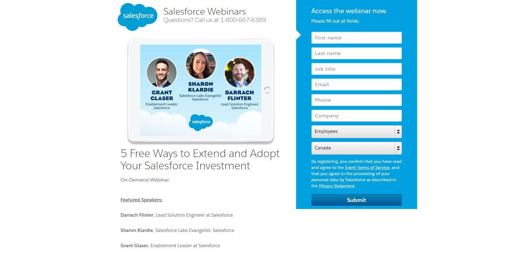 Salesforce webinar lead gen