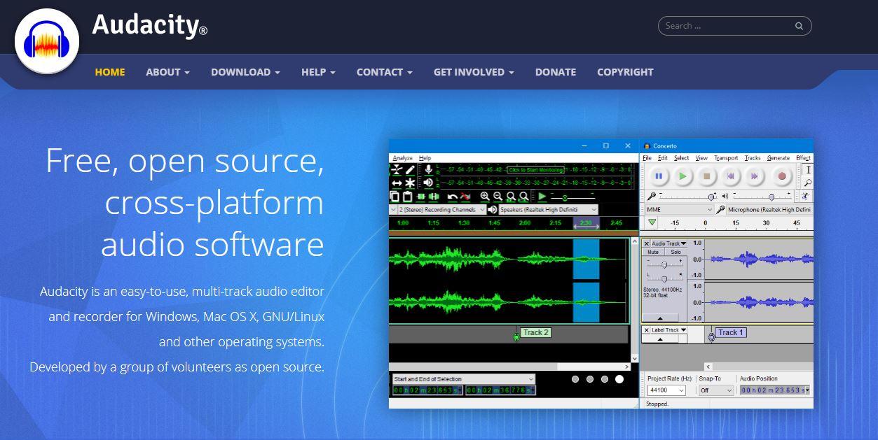 Audacity homepage
