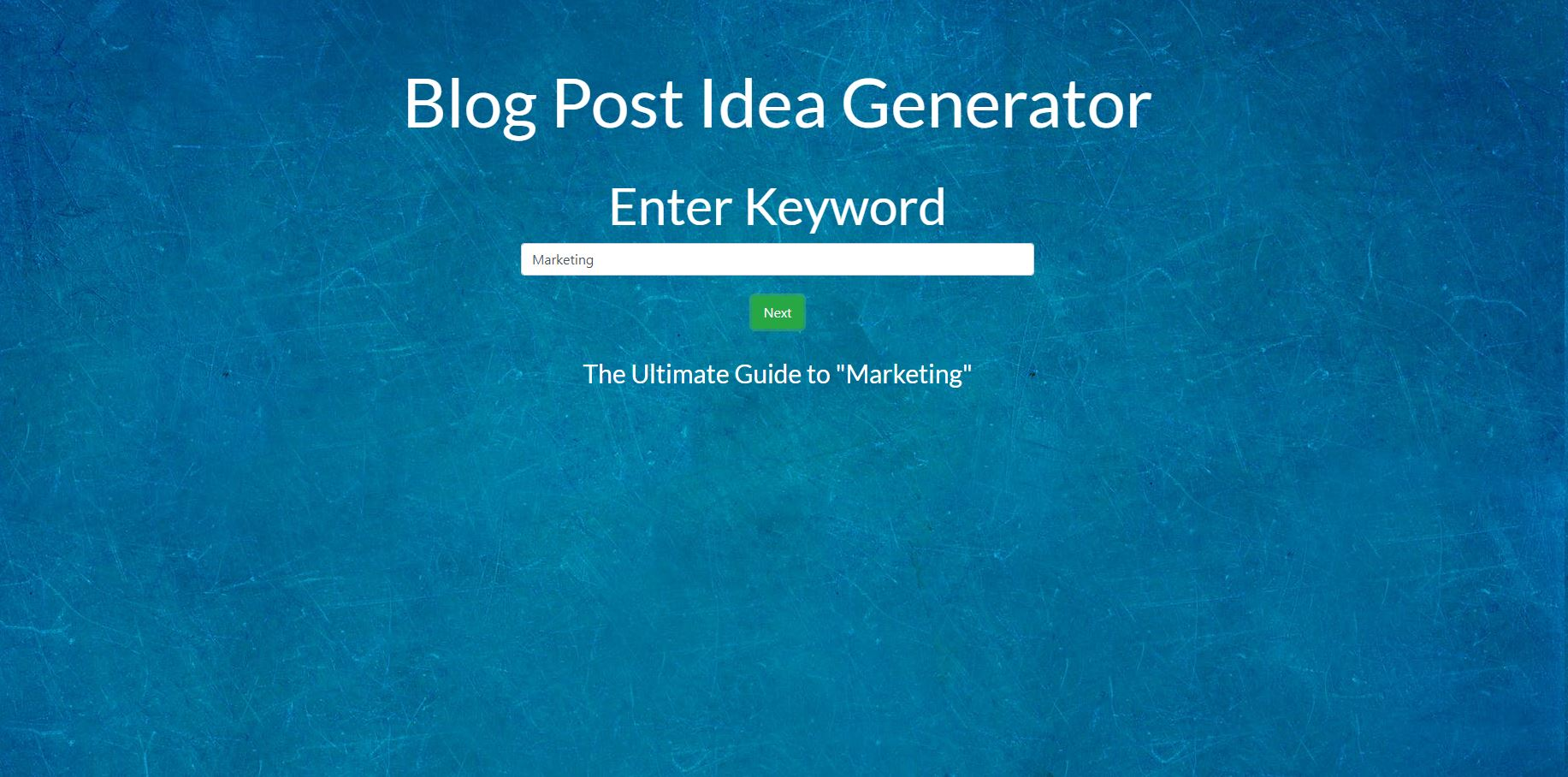 Blog post idea generator results