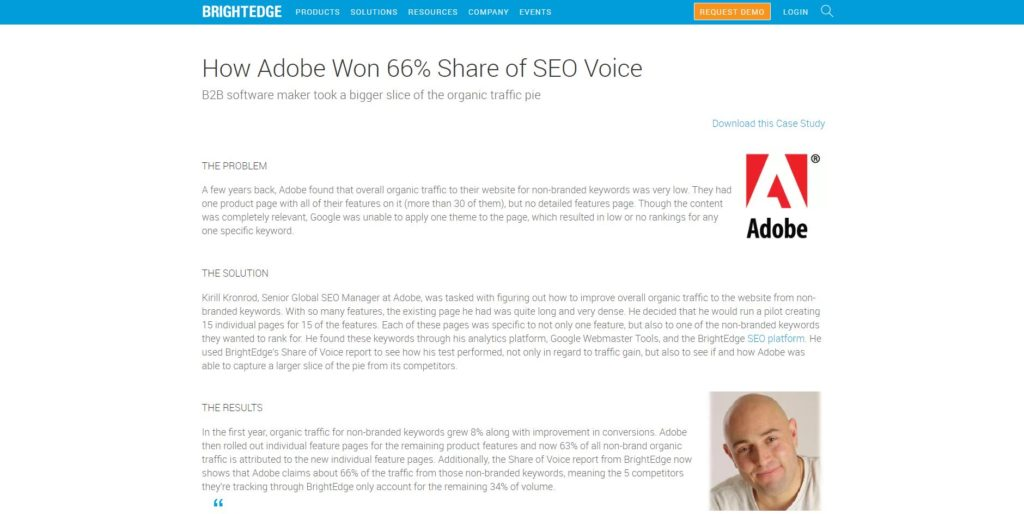 Brightedge and Adobe case study page