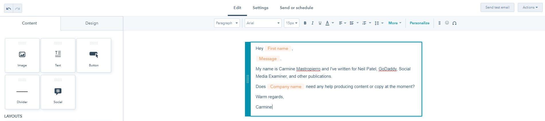 Email test HubSpot