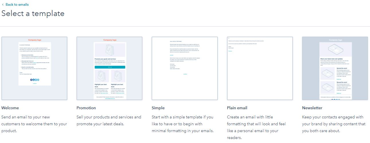 Email type HubSpot