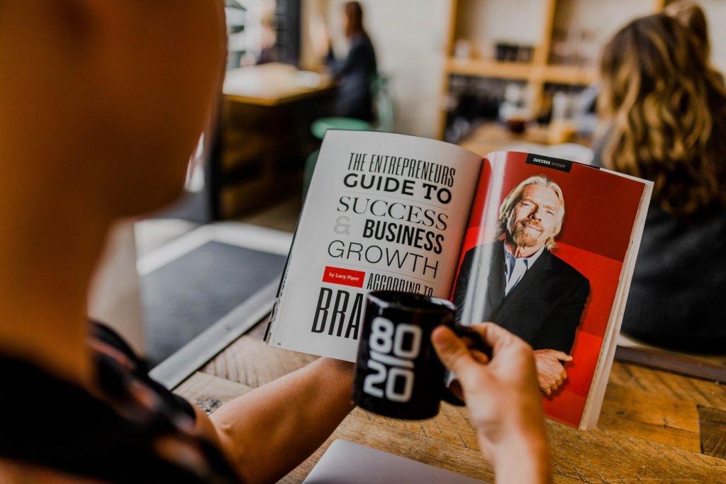 Entrepreneur reading a book