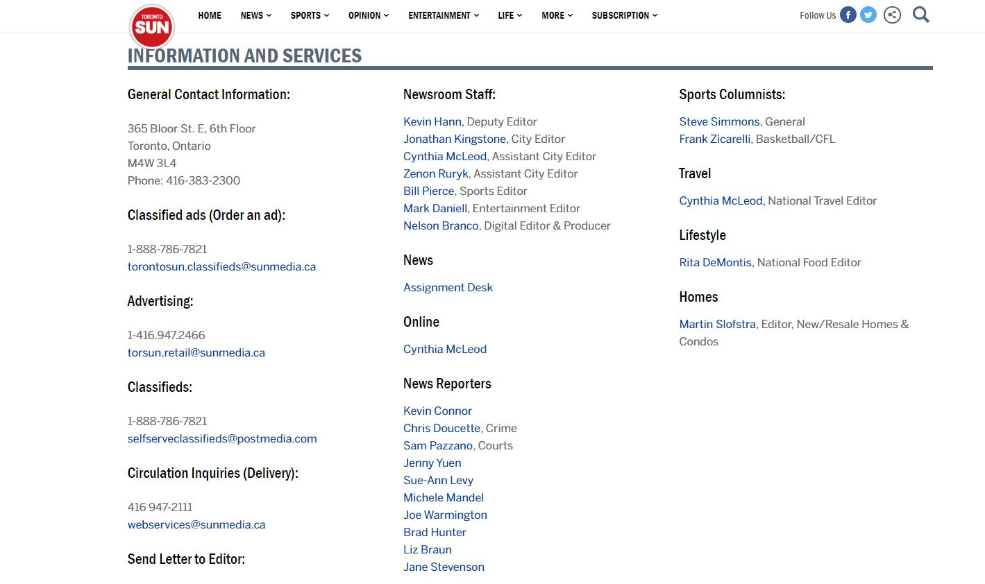 Example of publication contact page