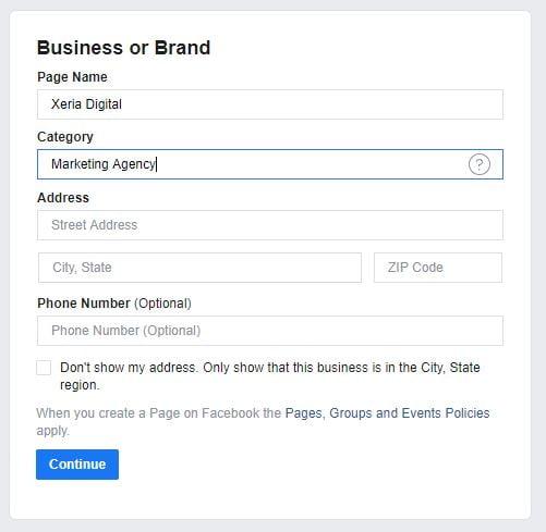 FB page details