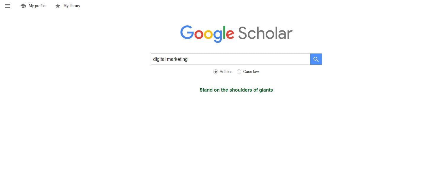 Google Scholar search bar