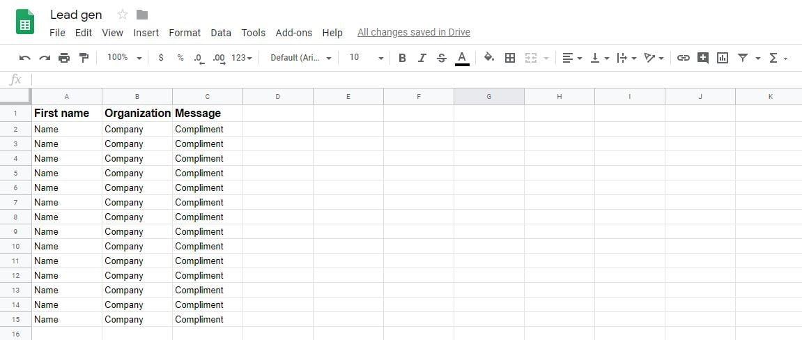 Lead gen spreadsheet