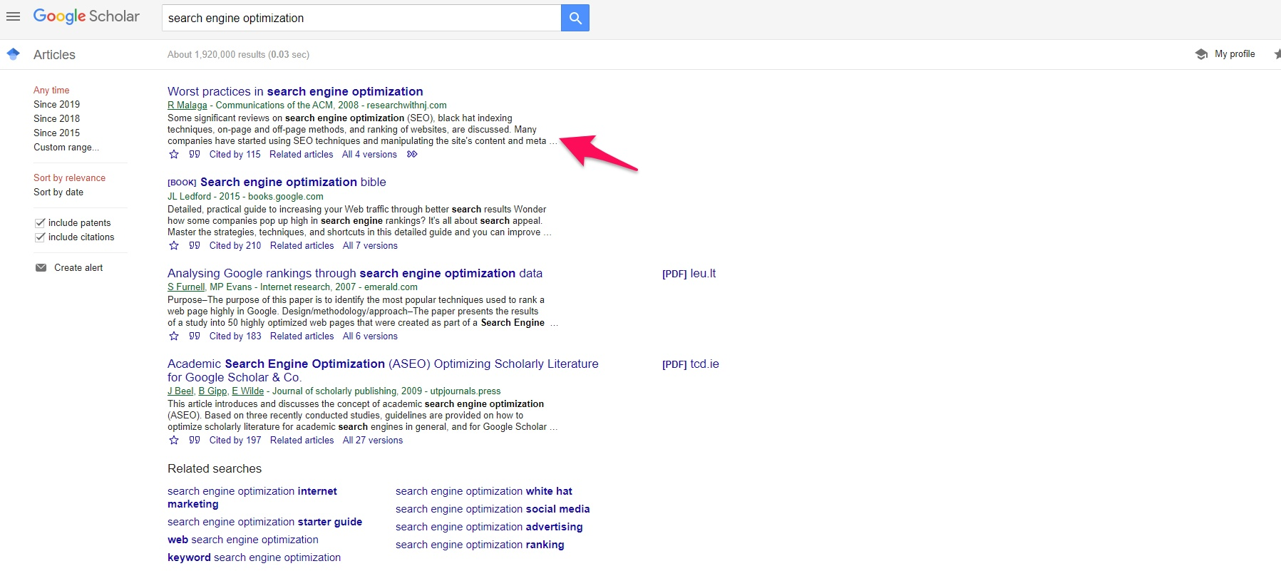 List of results on Google Scholar
