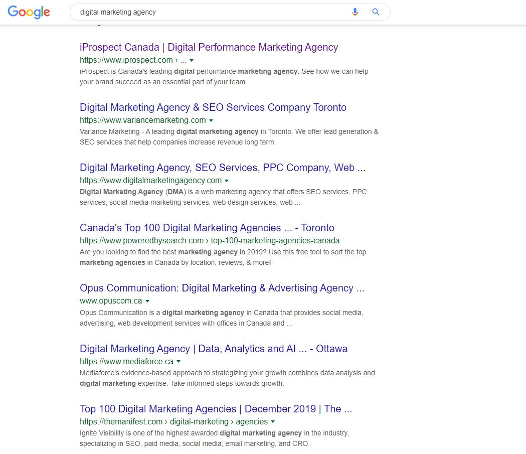 Looking for agencies on Google