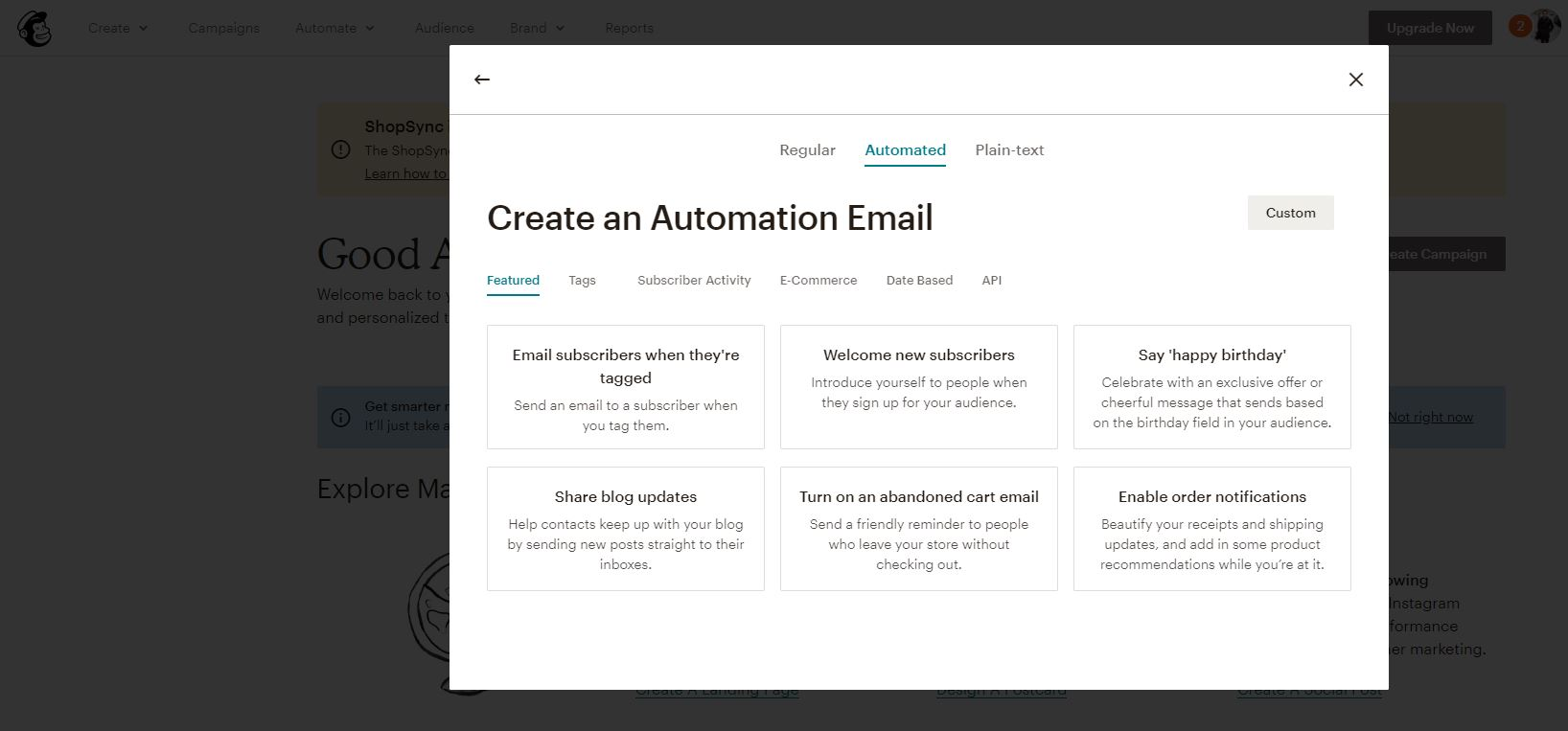 Mailchimp automated email