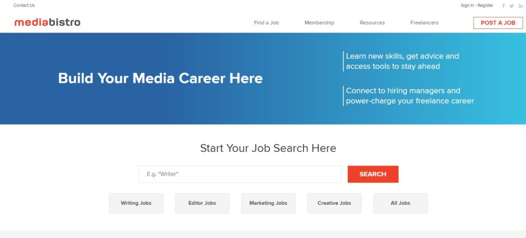 Mediabistro home page