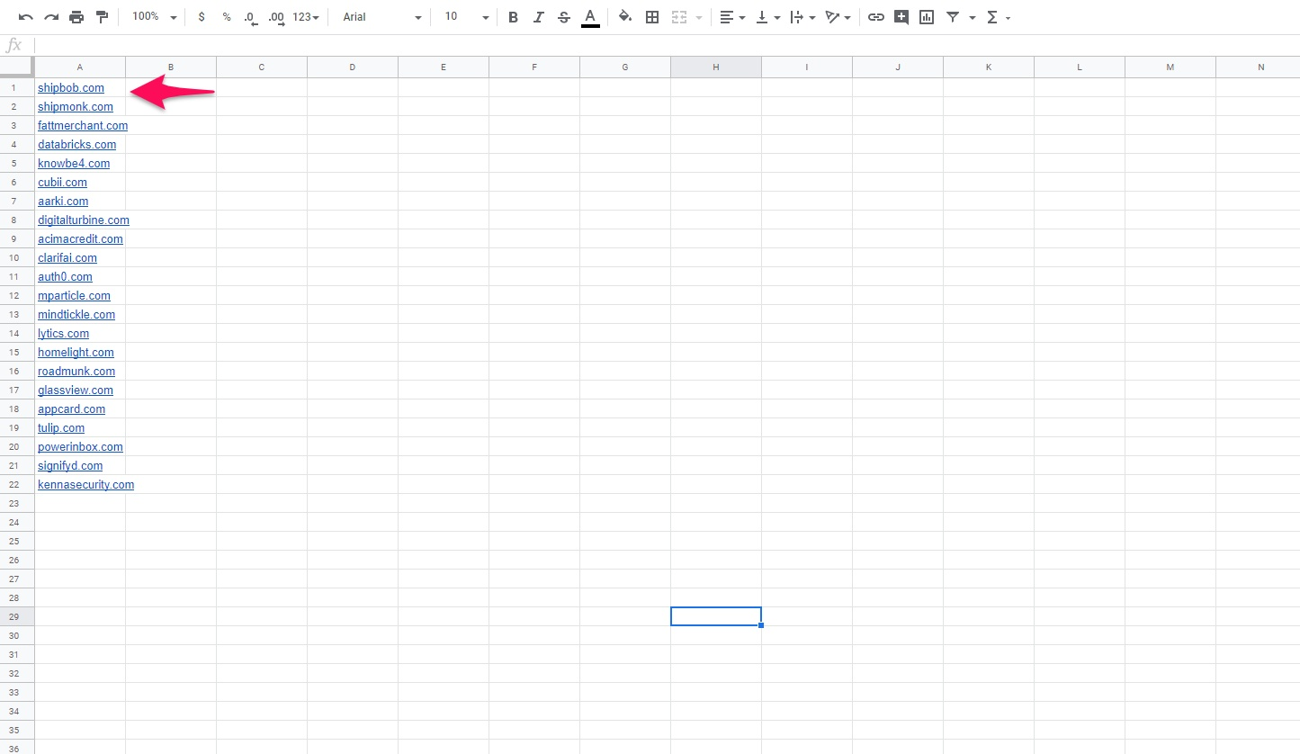 Partner spreadsheet
