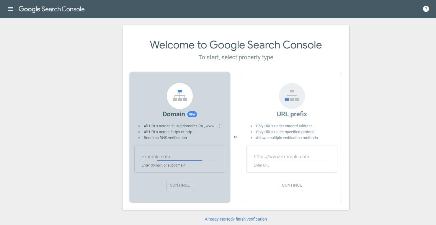 Search console enter