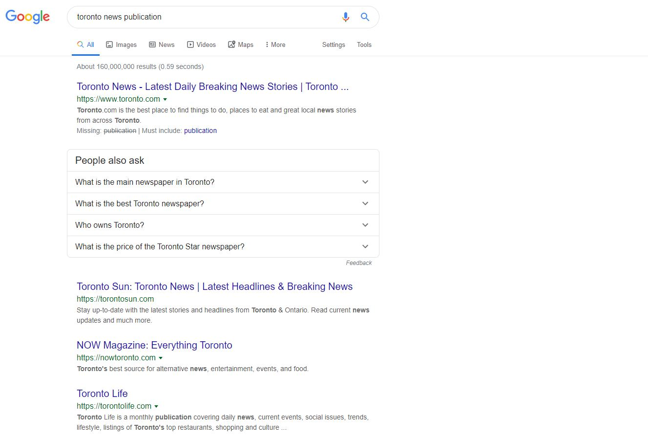 Searching for publications on Google