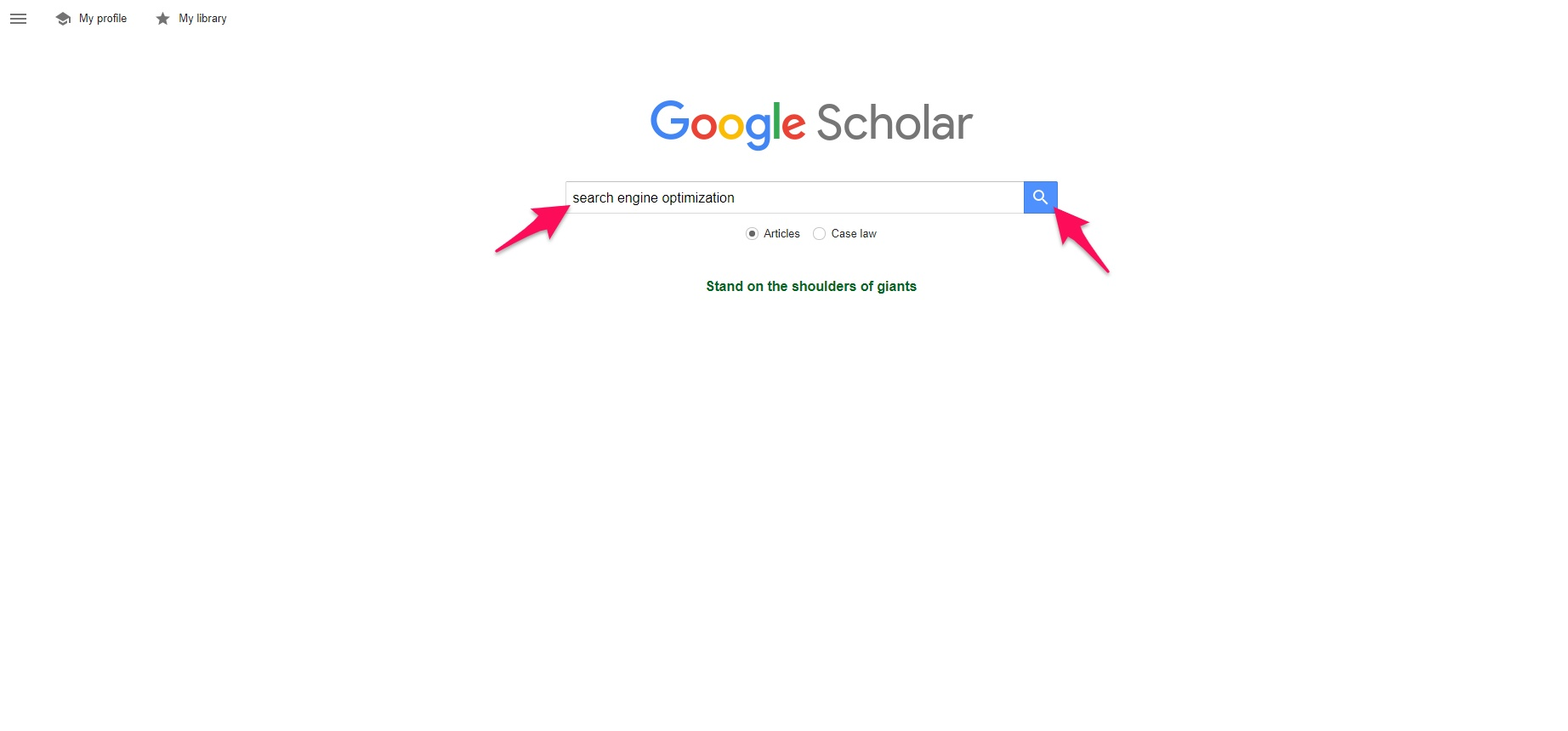 Searching on Google Scholar