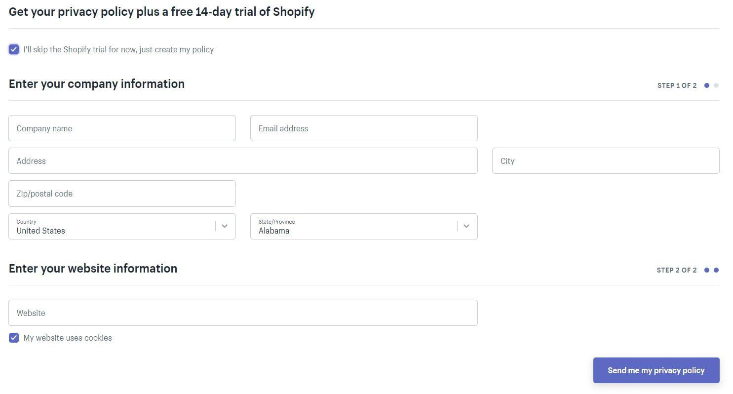 Shopify privacy form 1