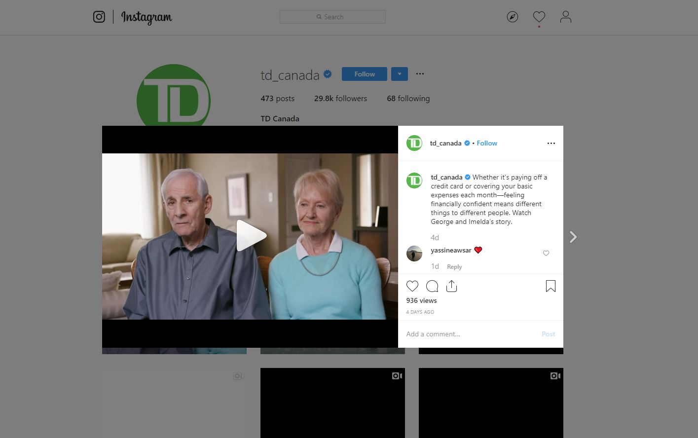TD Bank Instagram review