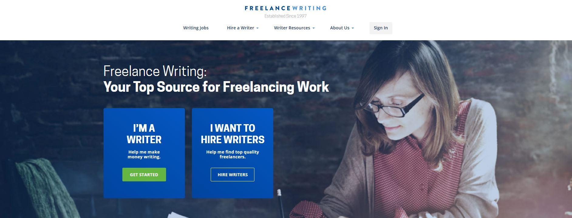 The Freelancewriting website homepage