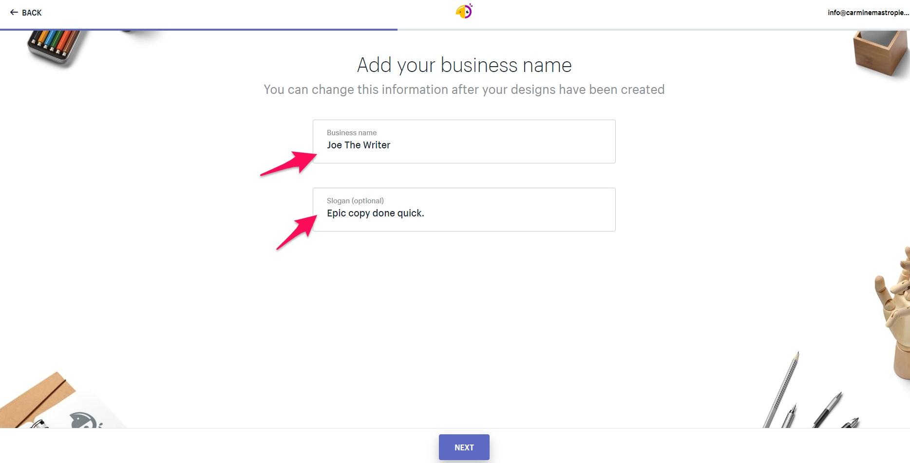 Adding business name on Hatchful
