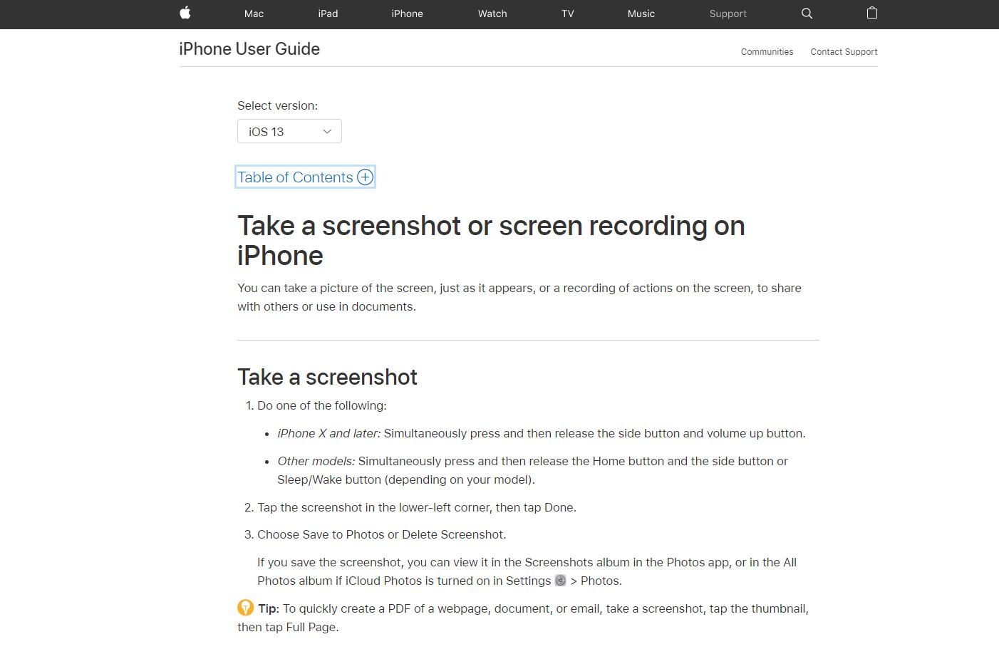 Apple help guide example