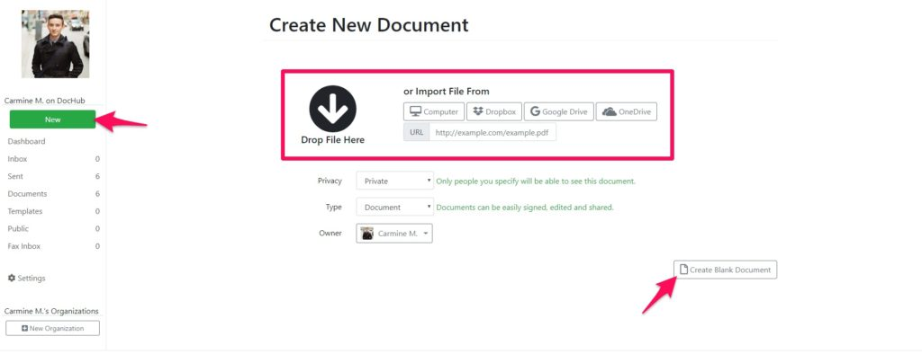 Creating a new document on DocHub
