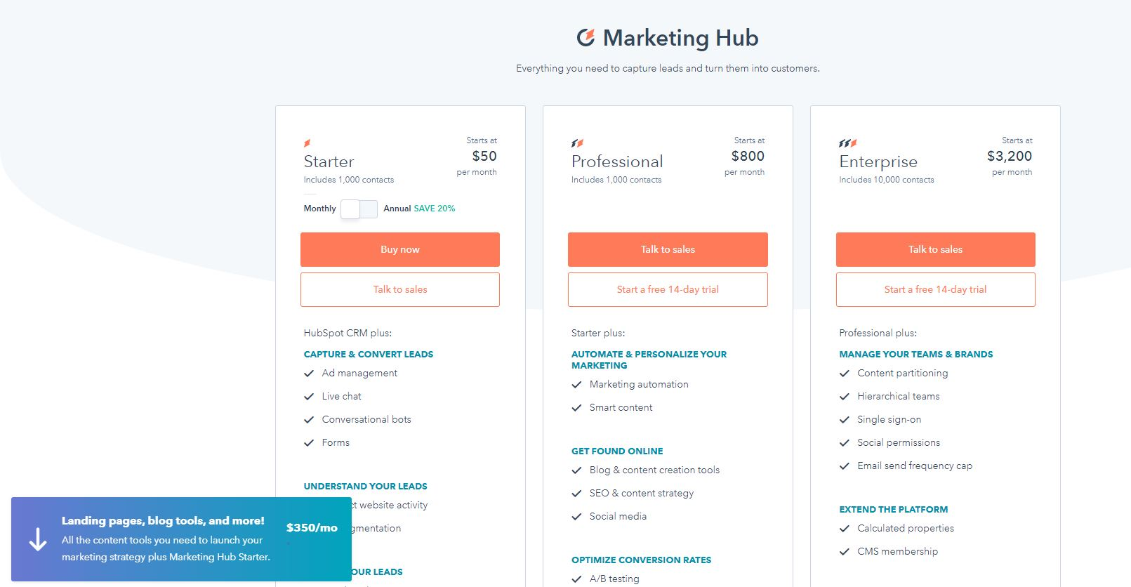 HubSpot pricing page