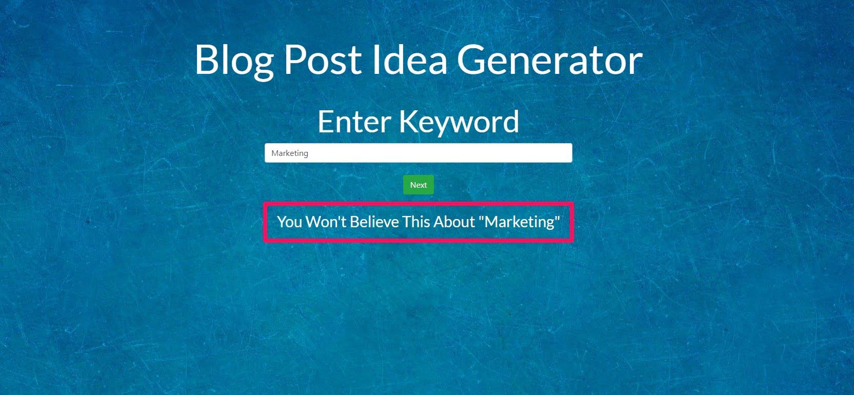 My blog post idea generator tool results