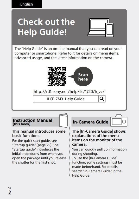 Sony camera guide