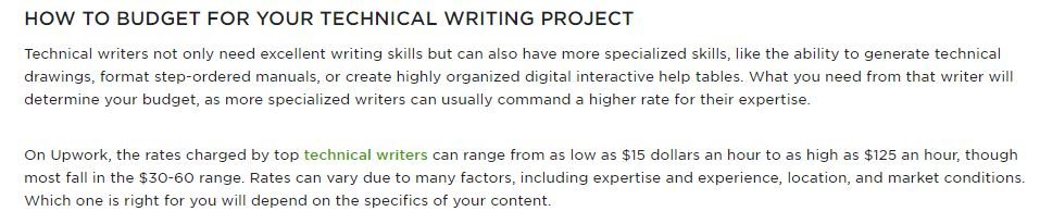 Upwork on technical writers