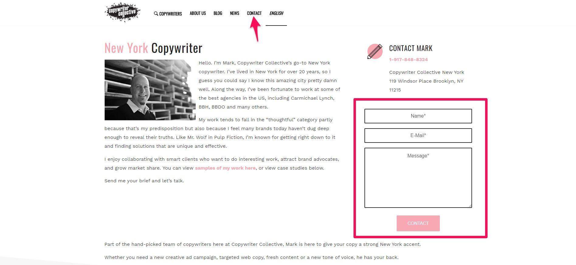 Copywriter Collective website