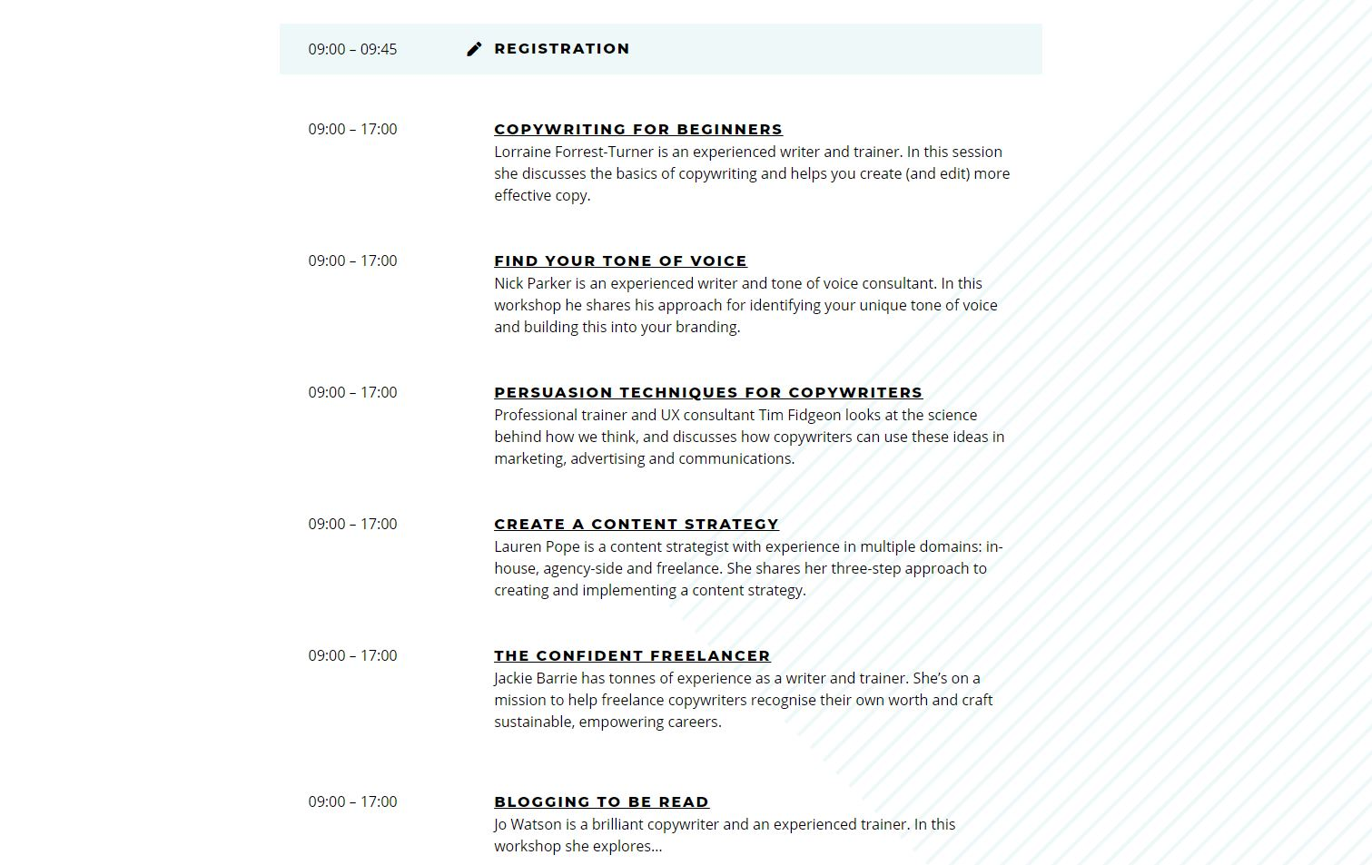 Copywriting Conference agenda