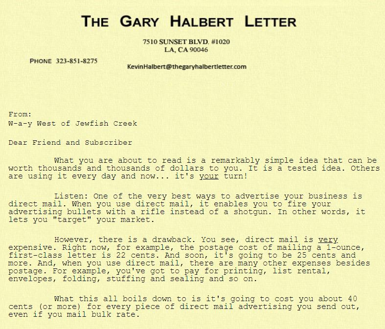 Gary Halbert letter about mailing