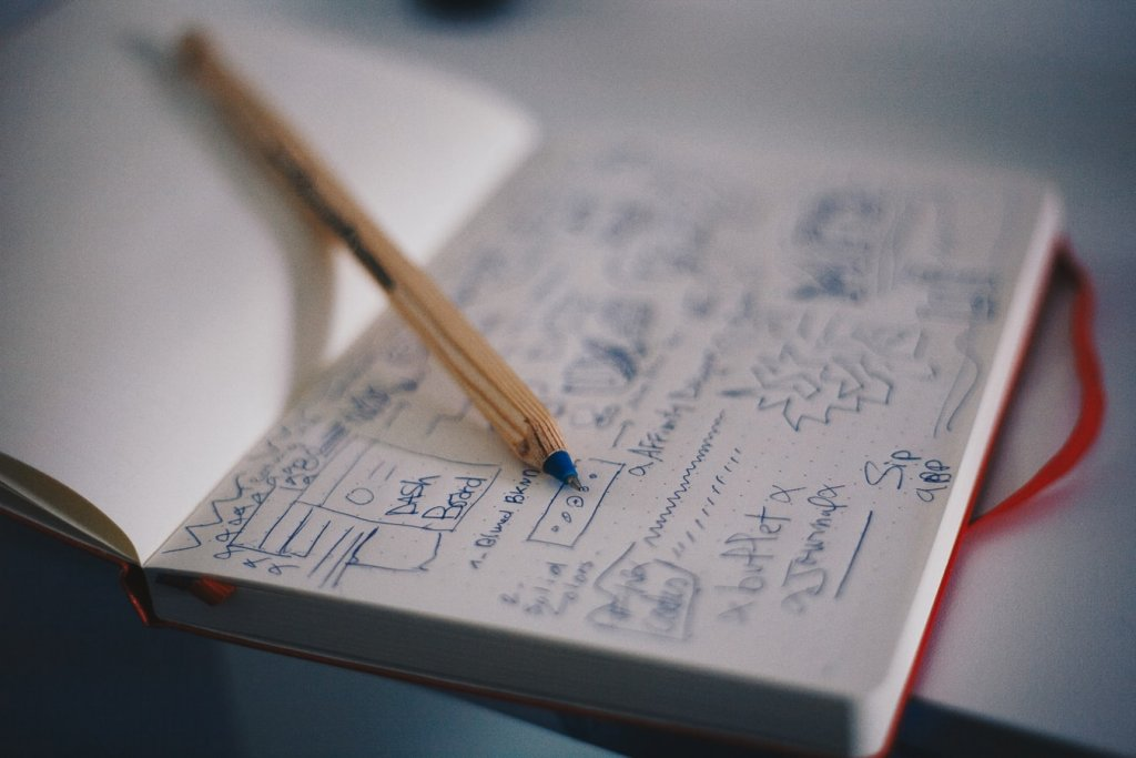 Notepad with scribbles