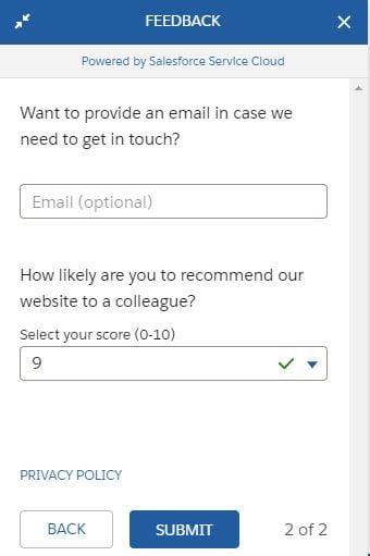 Salesforce feedback second page