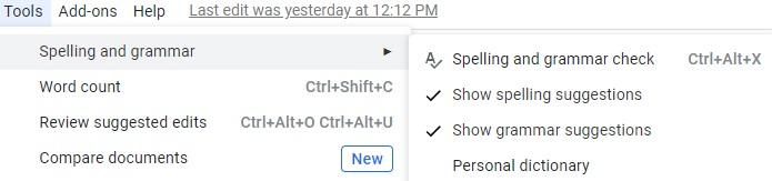 Spelling and grammar tab of Google Docs