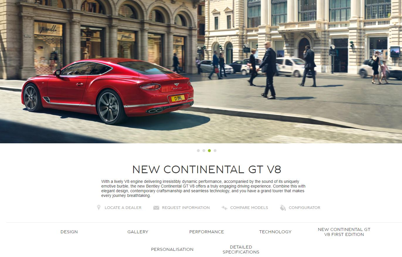 Bentley Continental GT product page