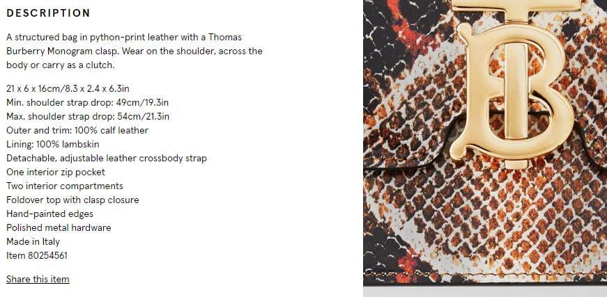 Burberry production description for python purse