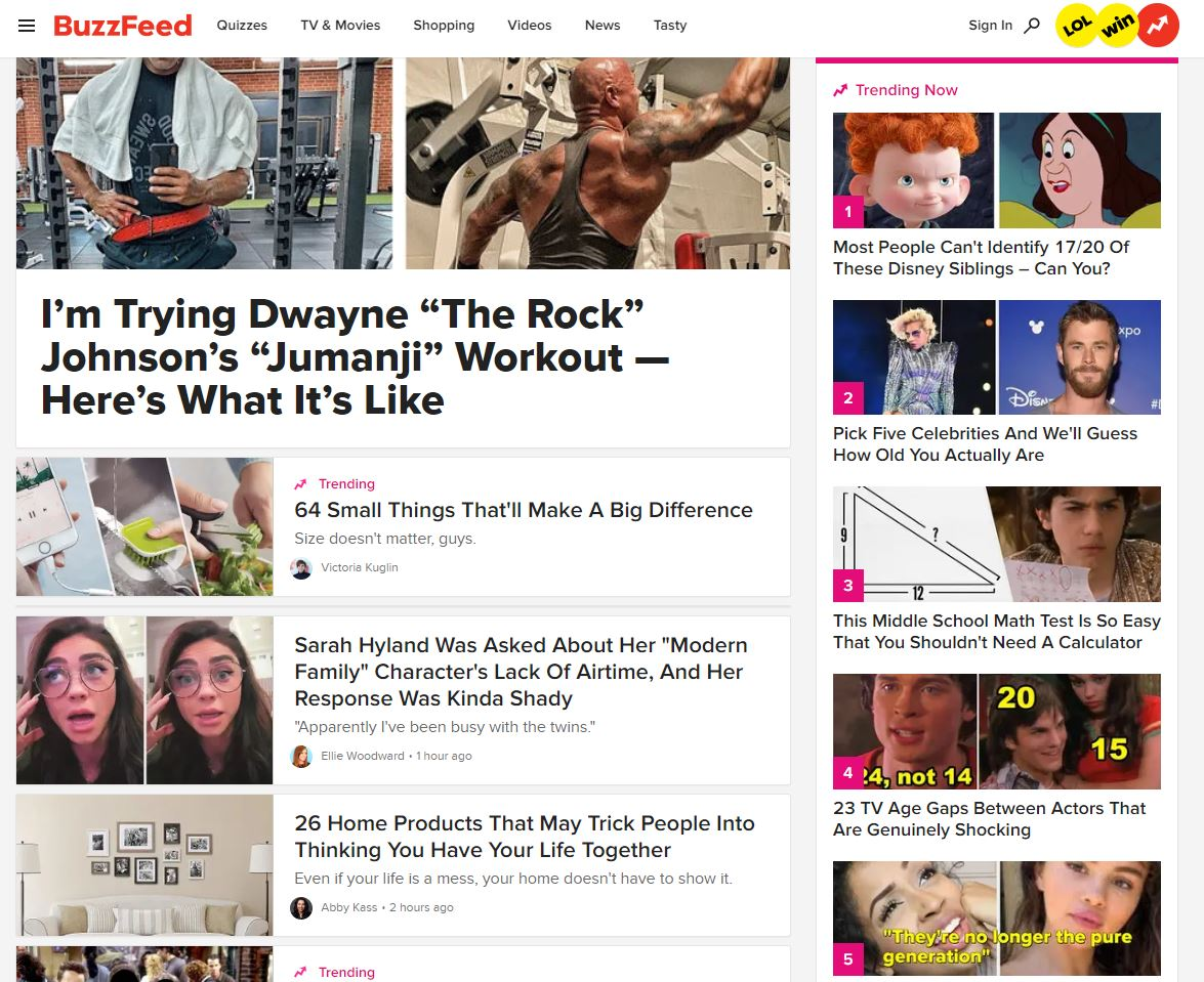 Buzzfeed home page example
