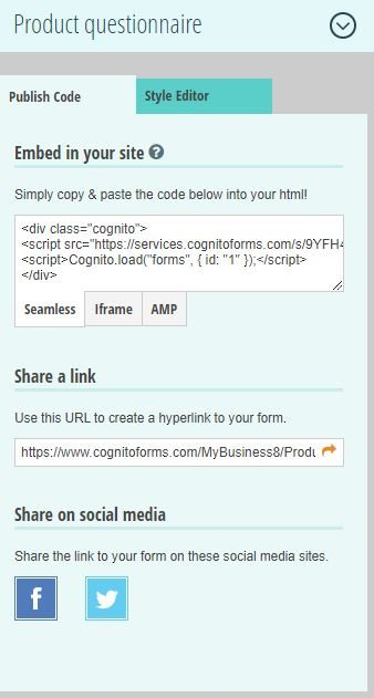 Cognito Forms link