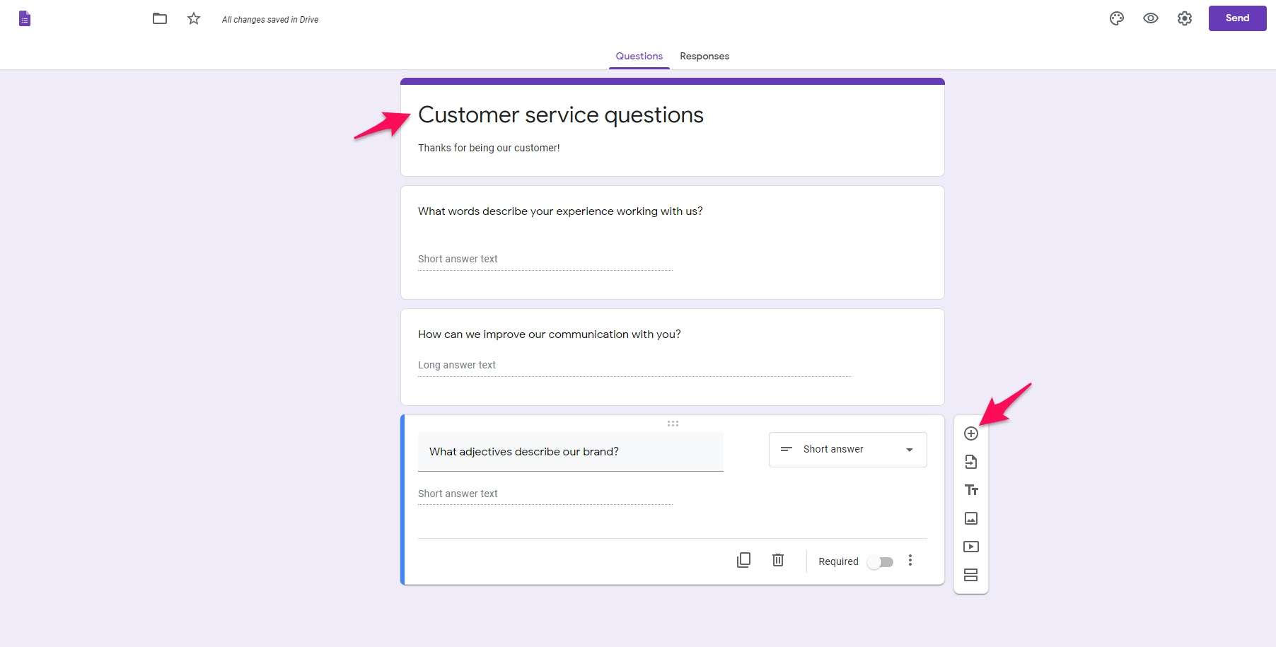 Customer service form Google Forms