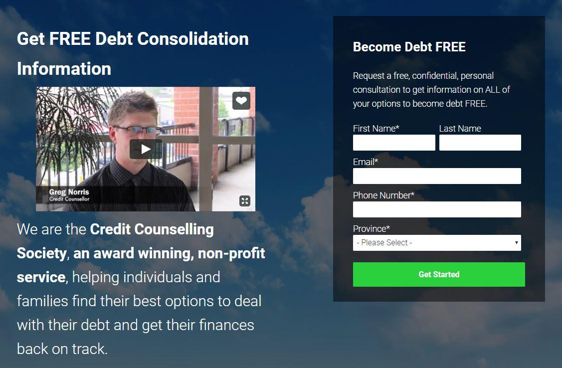 Debt landing page
