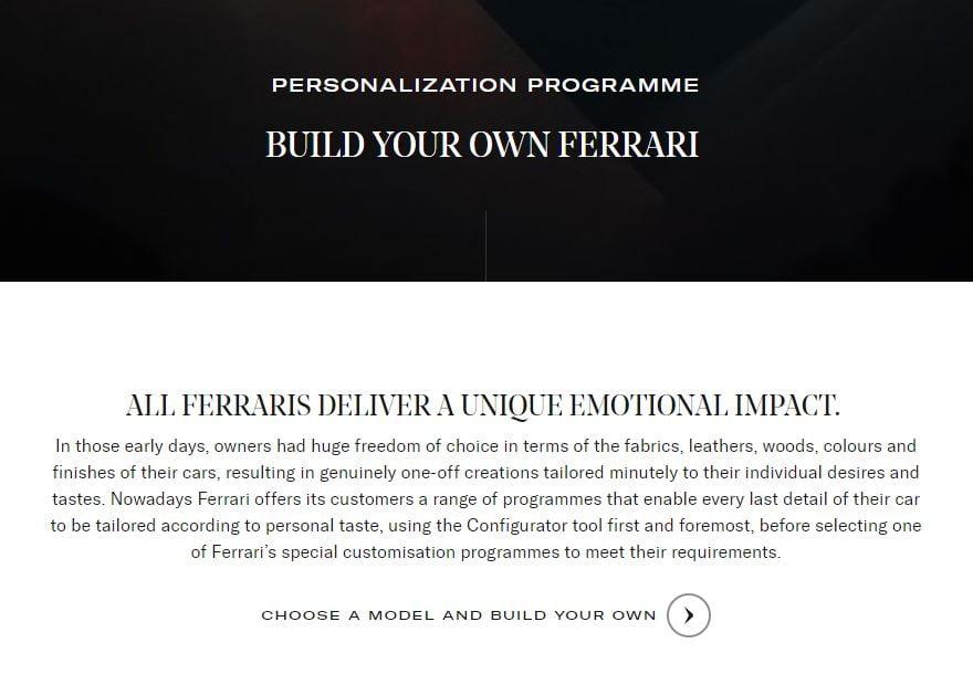 Ferrari personalization programme